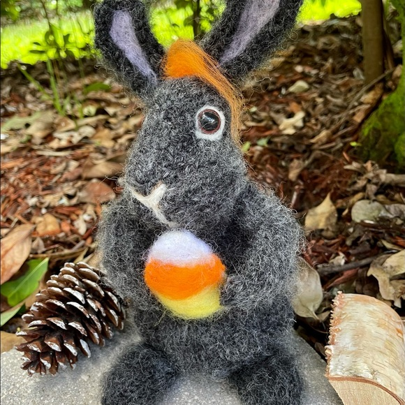 handcrafted knit and felted fall decor bunny